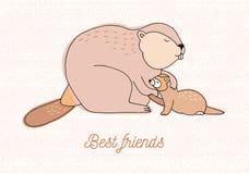 самые лучшие друзья карточки красочной иллюстрация нарисованная рукой с бобром и лаской Стоковая Фотография RF