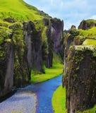 Самый живописный каньон Fjadrargljufur стоковое изображение