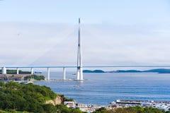 Самый длинний, котор кабел-остали мост в мире в Владивостоке Стоковое фото RF