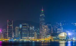 Самый красивый вид на город на ноче в Гонконге Стоковая Фотография RF