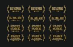 Самый лучший комплект логотипа победителя награды кино актрисы иллюстрация вектора