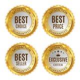 Самый лучший комплект собрания знака ярлыка цены, продавца, выбора и исключительного предложения золотой сияющий также вектор илл Стоковое Фото