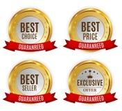 Самый лучший ярлык цены, продавца, выбора и исключительного предложения золотой сияющий с красным комплектом собрания знака ленты Стоковое Изображение