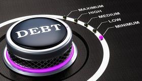 Самый низкоуровневый концепции задолженности, ручки перевод 3d Стоковое Фото
