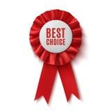 Самый лучший выбор, реалистическая красная лента награды ткани Стоковое фото RF