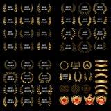Самый лучший комплект лаврового венка награды золота вектора награды Ярлык победителя, победа символа лист, триумф и комплект илл бесплатная иллюстрация
