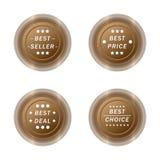 Самый лучший продавец, цена, дело, и отборный комплект кнопки ярлыка значка Стоковые Фото