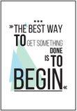 Самый лучший путь получить что-то начать плакат мотивировки Стоковые Фотографии RF