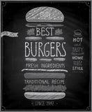 Самый лучший плакат бургеров - стиль доски Стоковые Фото