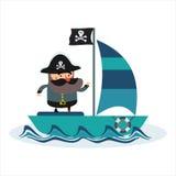 Самый лучший плоский пиратский корабль Стоковое Изображение