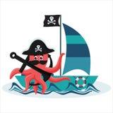 Самый лучший плоский пират осьминога Стоковые Фото