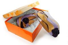сандалии женщины коробки стоковое изображение rf