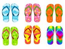 сандалии flops flip пляжа предпосылки изолированные иллюстрацией установили вектор белым иллюстрация штока