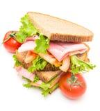 Сандвичи с ветчиной, saladf и томатами Стоковые Изображения