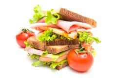 Сандвичи с ветчиной, saladf и томатами Стоковое Изображение