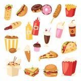 Сандвич бургера шаржа вектора фаст-фуда нездоровый, гамбургер, иллюстрация закуски меню ресторана фаст-фуда еды пиццы иллюстрация вектора