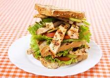 сандвич зажженный цыпленком Стоковое Изображение