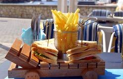 Сандвич и обломоки клуба гавани Paxos Стоковая Фотография