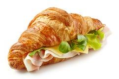 Сандвич круассана с ветчиной Стоковая Фотография