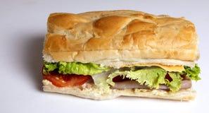 Сандвич мальчика Po ветчины и сыра с салатом Стоковые Фото