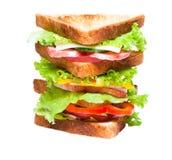 Сандвич на белой предпосылке Стоковые Фотографии RF
