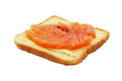 Сандвич при изолированные семги и масло. Стоковые Фото