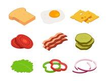 Сандвич равновеликий Конструктор еды с различными ингридиентами иллюстрация вектора