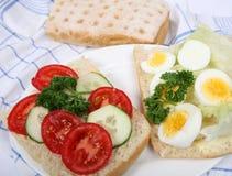 сандвич салата яичка ciabatta открытый Стоковые Фотографии RF