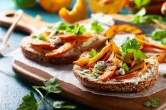 Сандвич с зажаренной тыквой Стоковое Изображение