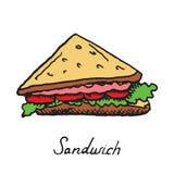 Сандвич с мясом, томатами и салатом иллюстрация штока
