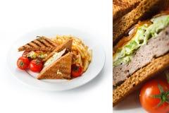 Сандвич с fries Стоковые Фотографии RF