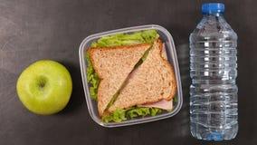 Сандвич, яблоко и вода стоковое фото