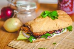 Сандвич Banh mi въетнамский с ветчиной, pate, cilantro, и морковью стоковая фотография