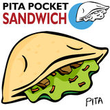 сандвич pita карманный иллюстрация вектора