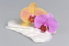 Санитарные полотенца с цветками орхидеи на сером цвете Стоковые Фото
