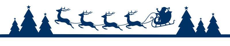 Сани летая рождества знамени с синью леса иллюстрация вектора