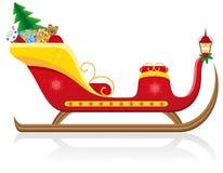 Сани рождества Santa Claus с подарками иллюстрация штока