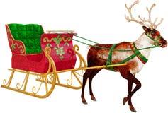 Сани Санта Клауса, изолированный северный олень, Стоковые Фото