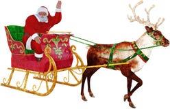 Сани Санта Клауса, изолированный северный олень, Стоковое Изображение RF