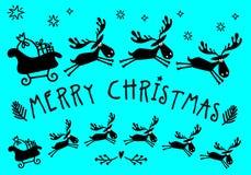 Сани Санта Клауса с лосями, вектором Стоковые Изображения