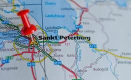 Санкт-Петербург на карте Стоковое Изображение RF
