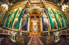 Санкт-Петербург - 19-ое мая 2016: Деталь интерьера собора Исаак Святого или Isaakievskiy Sobor стоковая фотография rf