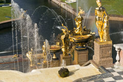 Санкт-Петербург, Россия - 28-ое июня 2017: каскад фонтанов в Peterhof в Санкт-Петербурге Петербурге Стоковое фото RF