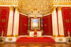Санкт-Петербург, Россия - 12-ое мая 2017: Королевский трон, интерьер обители положения, музей изобразительных искусств и культура Стоковая Фотография