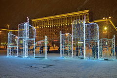 Санкт-Петербург, Россия - 2-ое января 2017: Рождественская елка и Стоковые Изображения