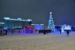 Санкт-Петербург, Россия - 2-ое января 2017: Рождественская елка и Стоковое Фото