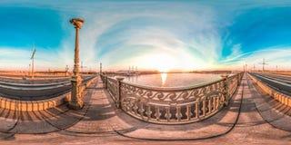 Санкт-Петербург - 2018: Neva ночи белые голубое небо сферически панорама 3D с углом наблюдения 360 подготавливайте для виртуально стоковое фото