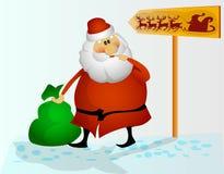 Санта видит указатель Стоковое Фото