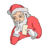 Санта держит секрет стоковая фотография