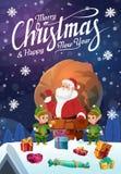 Санта и гномы на крыше, веселое рождество иллюстрация штока